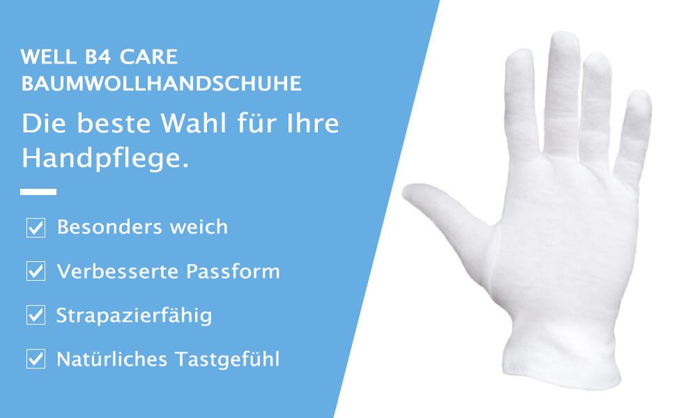 Neurodermitis Baumwollhandschuhe Well B4 Care 100% Baumwolle