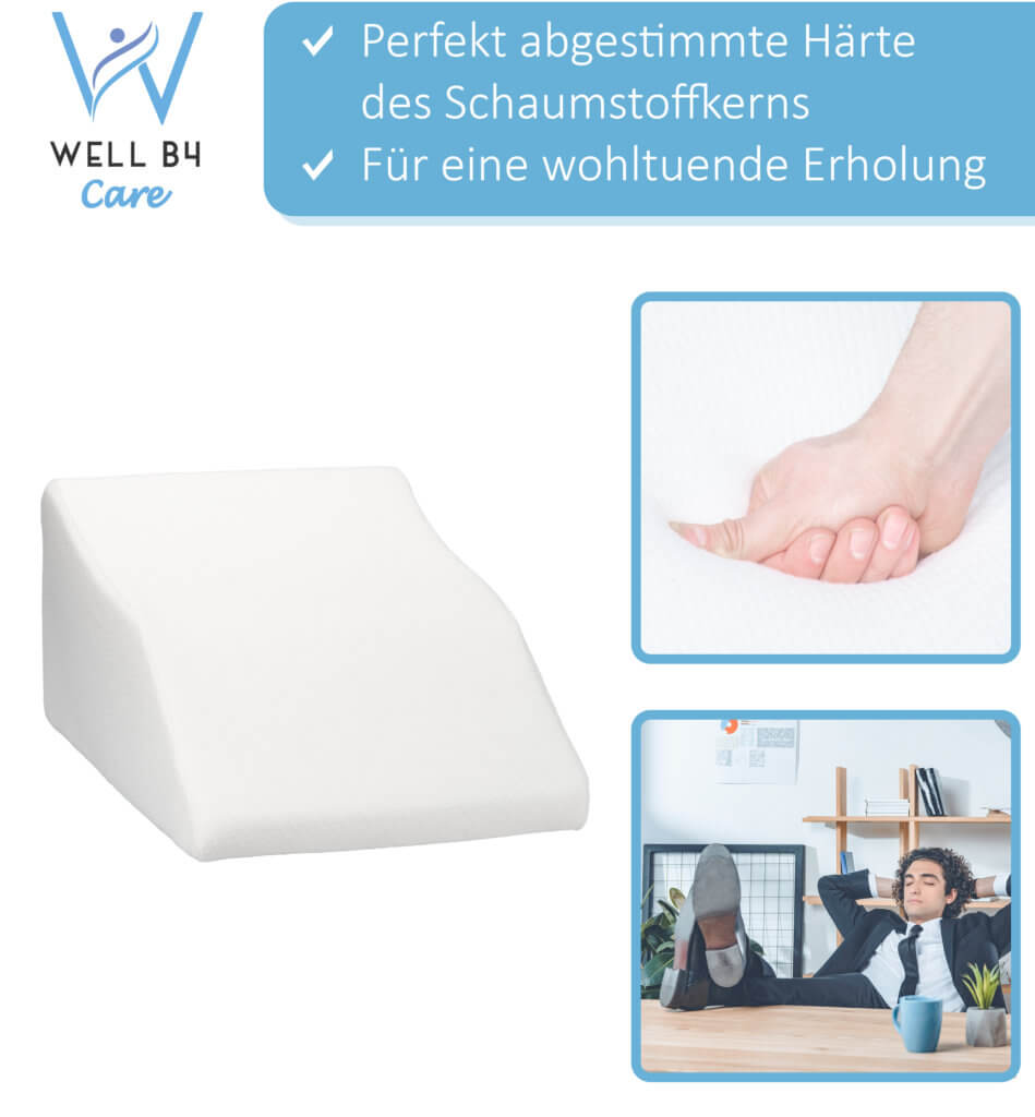 Well B4 Care Venenkissen für die Beine, Beinhochlagerungskissen mit Bezug, Bein Keilkissen zum Hochlegen der Beine, 62 x 40 x 26 cm, weiß