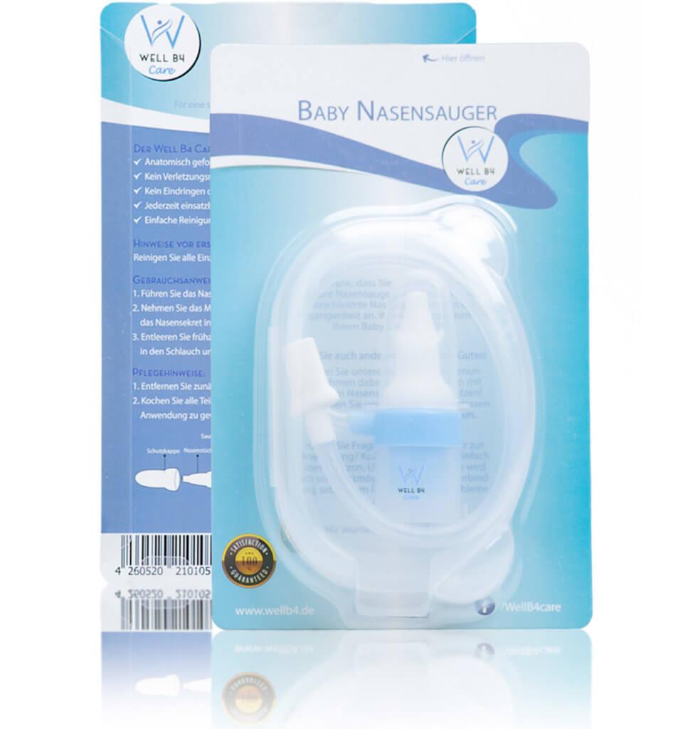 Well B4 Care Nasensauger Baby, Nasensekretsauger filterlos, Nasenputzer zur Nasenreinigung für Neugeborene und Kleinkinder, blau